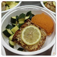 Pan seared halibut with sweet potato mash and baked zucchini