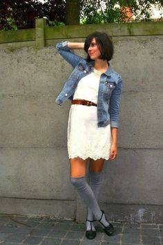 in search of a jean jacket to be worn with dresses/skirts. not high socks though....