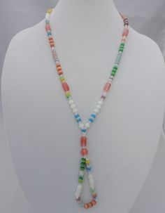 Unique color-blocked glass puzzle bead oval drop necklace