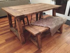 Rustic, modern custom built farmhouse tables and benches.