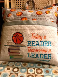 Pillow Embroidery, Machine Embroidery Projects, Embroidery Monogram, Machine Embroidery Applique, Book Pillow, Reading Pillow, Pillow Talk, Sewing Projects For Kids, Sewing Crafts