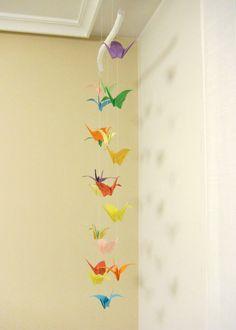 Móvil de grullas de papel • Origami cranes mobile #DIY