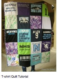 Jersey quilt--- make out of kids old jerseys.