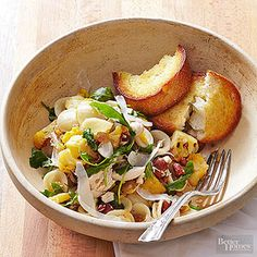 Starting with a purchased roasted chicken makes this healthy recipe perfect for busy weeknights. Tender orecchiette pasta, skillet-cooked cauliflower, and just-wilted arugula round out the recipe for an all-in-one healthy meal.