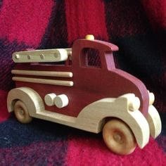 Work Vehicles Series - Firetruck by PuzzlesnToysnWood on Etsy Wooden Toy Trucks, Wooden Car, Handmade Wooden Toys, Wooden Crafts, Kids Wood, Christmas Wood, Wood Toys, Fire Trucks, Wood Projects