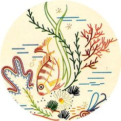 Simplicity 7211 Tropical Fish, Sea Shells, Frogs for Bath Decor. A 1940s hand embroidery pattern.