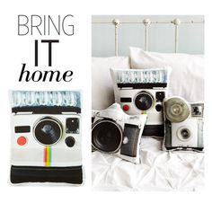 """Bring It Home: In The Seam LLC Vintage Camera Pillows"" by polyvore-editorial ❤ liked on Polyvore featuring interior, interiors, interior design, home, home decor, interior decorating, vintage and bringithome"