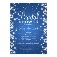 Elegant Bridal Shower Winter Sparkle Blue Invitations in a bright Royal blue.  So pretty!