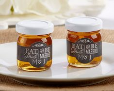 "Personalized Honey Favor Jars - ""Eat Drink & Be Married"" With Couple's Initials (Set of 12, Minimum 2 orders)"