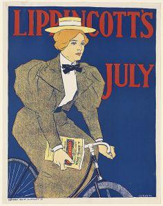 Leg-o-mutton sleeves on woman riding bike ~ 1896 (inferred)