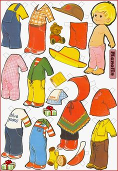 MANOLIN  Paper Doll by Spanish illustrator Maria Pascual (01.07.1933-13.12.2011)  for children's books painted  in the last century for Toray Publishing