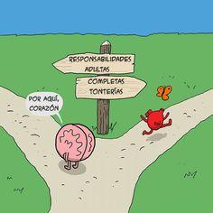 Un cómic que muestra la batalla constante entre la cabeza y el corazón