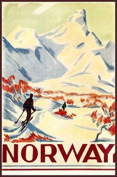 Ski In Norway 1930 Vintage Poster Art Print Retro Style Snow Winter Sports #Vintage