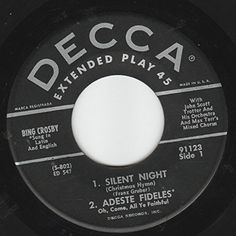 """45vinylrecord Silent Night Holy Night/Adeste Fideles/White Christmas/God Rest Ye Merry Gentlemen/I'll Be Home For Christmas/Faith Of Our Fathers/Jingle Bells/Santa Claus Is Comin To Town (7"""" EP PS & 45 rpm) DECCA http://www.amazon.com/dp/B0151WYS6S/ref=cm_sw_r_pi_dp_jEV7vb18F4SX7"""