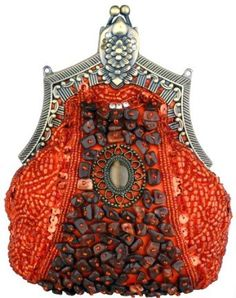 Antique Victorian Applique Plated Brooch Beaded Clasp Purse Clutch Evening Handbag w/2 Detachable Chains
