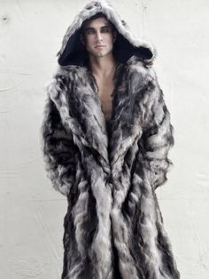 Men's Faux Fur Vandal coat with zip off hood by FurrociousFashion