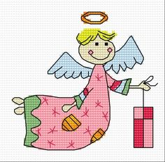 Angel with a gift (holidays, gifts, for children, Christmas, Xmas)
