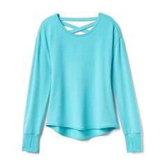 db7826fc093 Athleta Girl Criss Cross Back Sweatshirt ( 48) ❤ liked on Polyvore  featuring aqua sparkle