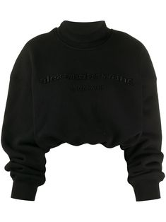 Black cotton cropped mock neck sweatshirt from Alexander Wang featuring a relaxed fit, an embroidered logo to the front, long sleeves, a relaxed fit and ribbed cuffs. Edgy Outfits, Mode Outfits, Grunge Outfits, Cute Casual Outfits, Fashion Outfits, Hipster Outfits, Punk Fashion, Hipster Grunge, Grunge Style