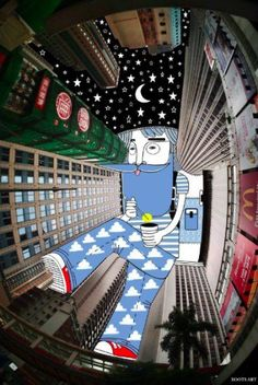 Ilustrações surrealistas projetadas sobre edifícios, por Thomas Lamadieu