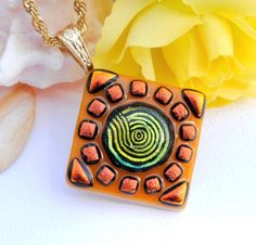 Dichroic Pendant, Fused Glass Jewelry, Summer, Orange, Gold, Fun, Party, Swirl, Mosaic Art (Item 10312-P) on Etsy, $26.00