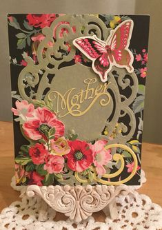 Mother's Day Card / Made with Anna Griffin Ornate Frame Cutting Dies and 10 Piece Seasonal Die Set, and Mother's Day 2010 Cricut Cartridge, also Anna Griffin Embellishments / Handcrafted By Cindy Babich (Cindyswishestogive)2016
