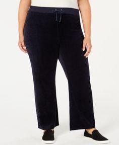 02a5ae620c39b Juicy Couture Trendy Plus Size Mar Vista Velour Pants - Blue 2X Juicy  Couture, Pantalón