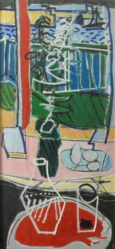 """""""The Red Table : St Ives : 1950 Patrick Heron British painter """" Patrick Heron, 1950s Art, Pastel Red, City Drawing, Art Through The Ages, Kids Art Class, Painting Collage, A Level Art, St Ives"""