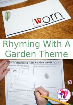 Free Rhyming Words With A Garden Theme - 6 different word endings to work on rhyming: -orn, -ose, -irt, -oy, -ot, and -eed - with drawing and writing. - 3Dinosaurs.com