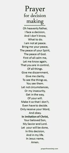Prayer for a decision