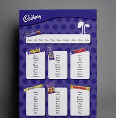 Cadbury themed wedding table plan. Great for a chocolate themed wedding. This is completely bespoke and designed just for this couple.