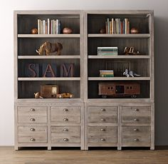 Weller Storage Wall Set, Wide Bookcase Tops (Set of 2)