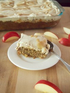Caramel Apple Sheet Cake Recipe - Irresistible apple cake with caramel frosting.  Perfect dessert for fall!