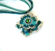 Beaded jewelry beaded pendant beadwork necklace seed bead by ibics, $43.00
