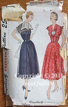 50's dress with gathering and ties