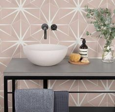 Rena, our concrete countertop wash bowl, looks great in white sat on a concrete vanity top and matt black industrial steel frame which is softened by the blush pink lily pad wall tiles by Ca Pietra. Concrete Basin, White Concrete, Bathroom Inspiration, Interior Design Inspiration, Design Ideas, Interior Ideas, Interior Decorating, Bathroom Tile Designs, Bathroom Ideas