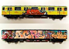 Each train car is made of ABS plastic specifically chosen for it's ability to work with marker-based paints and runs 52x4x13cm but doesn't actually have a motor. It's a DIY graffiti train car that you won't get arrested for tagging and will serve as good practice for its full-size brethren  Read more: Trains of Fame | Cool Material http://coolmaterial.com/home/trains-of-fame/#ixzz1RvgS8jyg