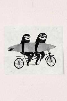 Surfing Sloth Tandem Sloth Art Print