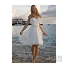 A-line Beads Sweet Heart Chiffon White Beach Wedding Dresses