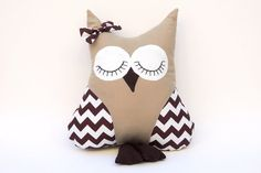 Handmade 'I'll Owl-Ways Be Your Friend' Owl Pillow in Tan and White/Brown Chevron - MADE TO ORDER