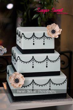 Square Wedding Cakes - 3 tier square, robins egg fondant, black piping, sugar anemones