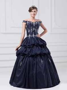 Taffeta Straps Floor Length Embroidery Ball Gown Quinceanera Dress at nextdress.co.uk