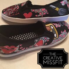 eb9506bfeeb4 Hand Painted Make Up themed shoes