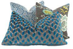 Peacock Blue & Gray Chevron Cut Velvet Lumbar Pillow Cover, Throw Pillow, Accent Pillow, 18x18, 20x20, 22x22,14x24