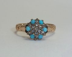Victorian Star Form Rose Cut Diamond Turquoise Ring in 14K Yellow from beaconhilljewelers on Ruby Lane