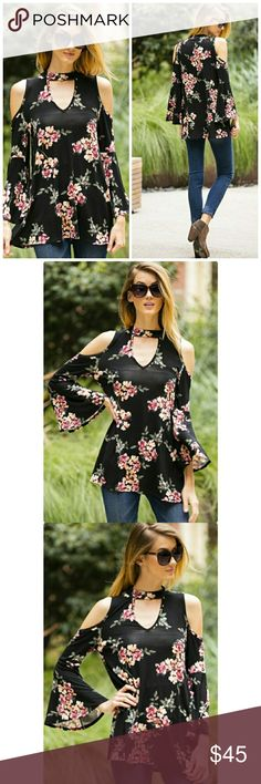 PRE ORDER NWT BLACK FLORAL TOP FLORAL PRINTING TOP WITH RUFFLE SLEEVE TRUE TO SIZE Tops Tees - Long Sleeve