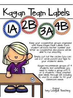 If you use Kagan Cooperative Learning Strategies in your classroom, these Table Group Labels are perfect for you! What makes my labels unique are:1) You have two options: each student within a group has a different color label, or each table group has the same color label.