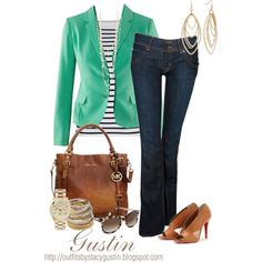 Green blazer, created by stacy-gustin