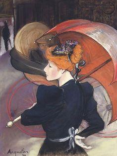 Louis Anquetin (French artist, 1861–1932) Femme au parapluie