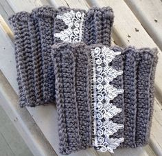 Gray Boot Cuffs with Lace Embellishment READY TO SHIP  on Etsy, $14.00